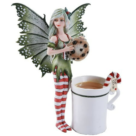 Amy Brown Fairy Ceramic Art (Amy Brown Chrismas Fairy Dragon Fantasy Art Figurine Collectible 5.75 inch )