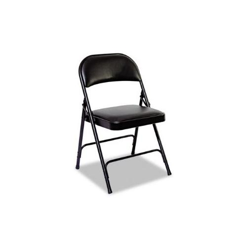 Steel Folding Chair With Padded Back/Seat, Graphite, 4/Carton