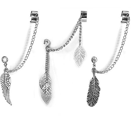 BodyJ4You 3PCS Cuff Earrings Stud Chain Dangle Ear Wrap Leaf Wing Feather Jewelry Set