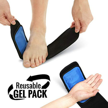 Multi-purpose Therapy Wrap Hot or Cold- Reusable Gel Ice and Heat Compress Pack with Adjustable Wrap for Foot, Ankle, Arm, Wrist and Elbow Pain Relief