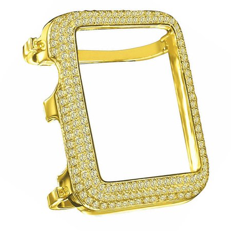 Gold Bezel Inserts (High Quality Series # 1 Real Sterling Silver Apple Watch Custom Bezel Insert Canary Gold Tone Lab Diamond Cover Case)