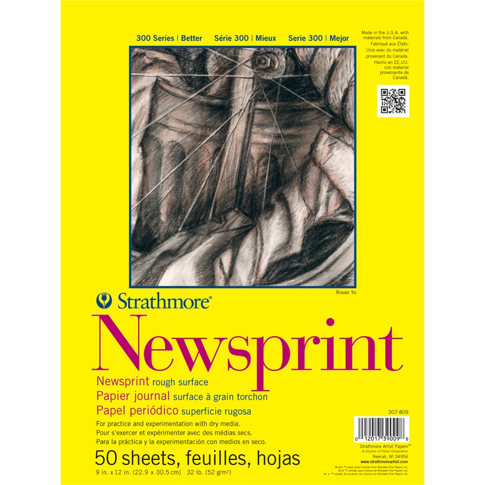 "Strathmore 300 Series 24"" x 36"" Rough Tape Bound Newsprint Pad"
