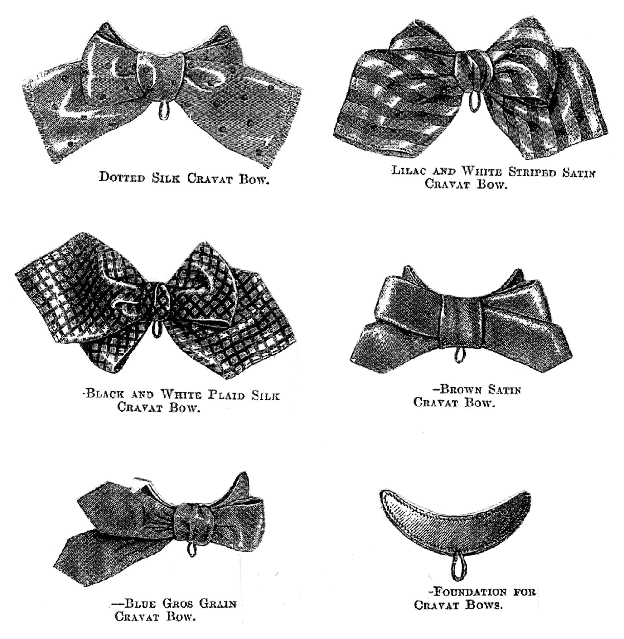 Sewing Pattern: 1870 5 Cravat Bows Pattern