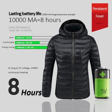 USB Heater Vest Heated Jacket Heating Winter Warm Clothes Women Thermal Outdoor-Black M