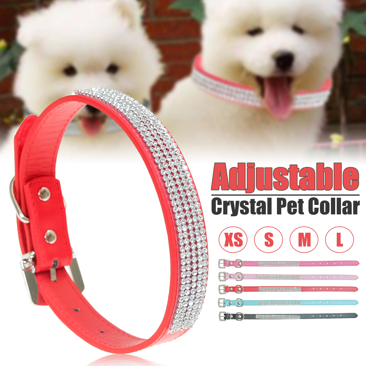 Adjustable Dog Collar, Rhinestones Diamante Crystal Band Pu Leather Bling Puppy Dog Cat Pet Collar Tag