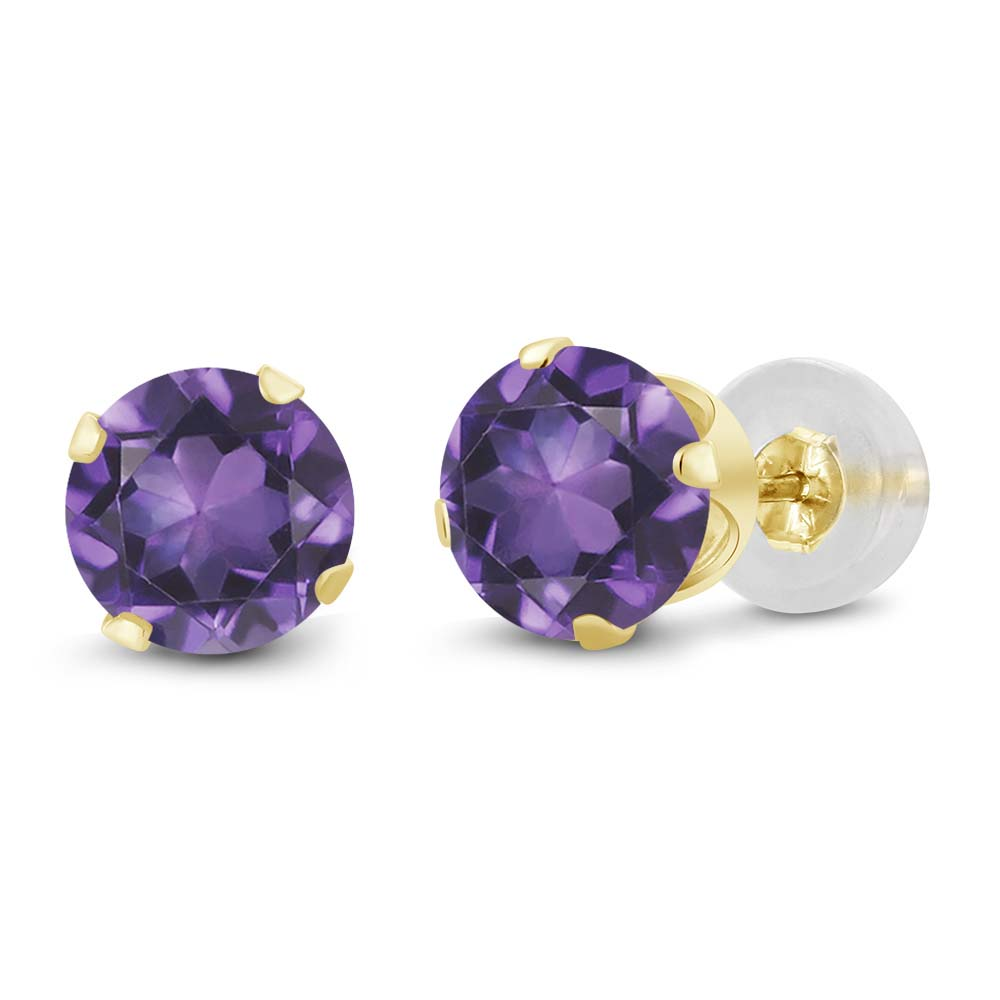 1.50 Ct Round Amethyst 14K Yellow Gold Stud Earrings