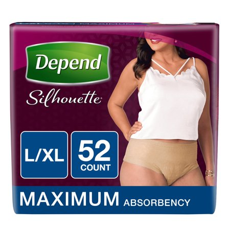 Depend Silhouette Incontinence Underwear for Women, Maximum Absorbency, L/XL, 52 Ct (Flattering Silhouette)