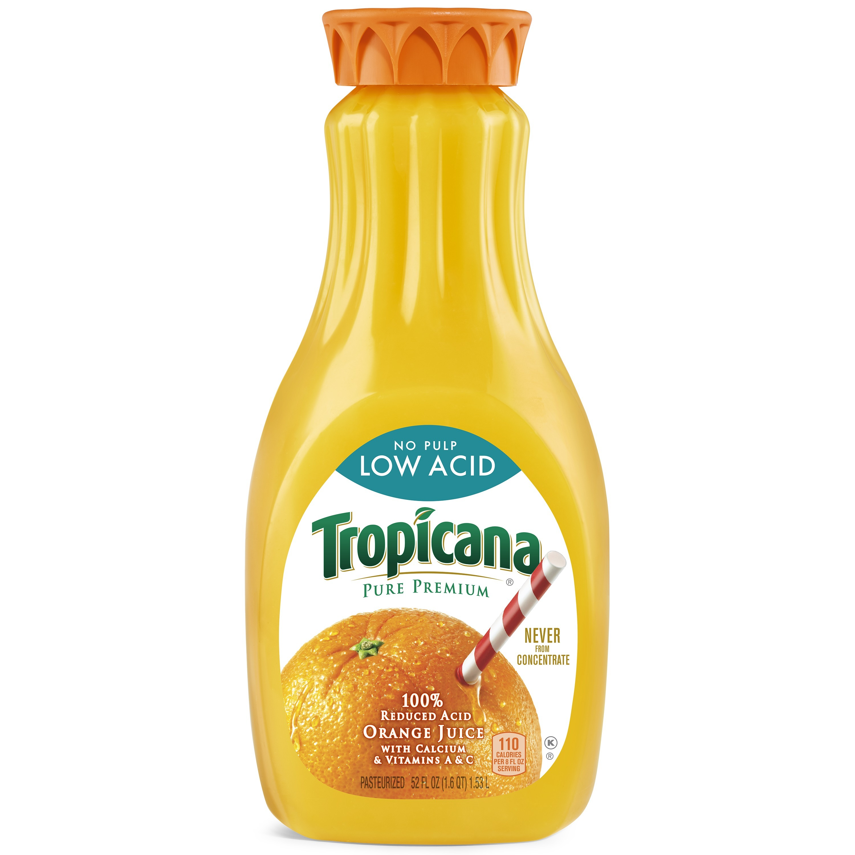 Tropicana No Pulp 100% Reduced Asic Orange Juice, 52 Fl. Oz.