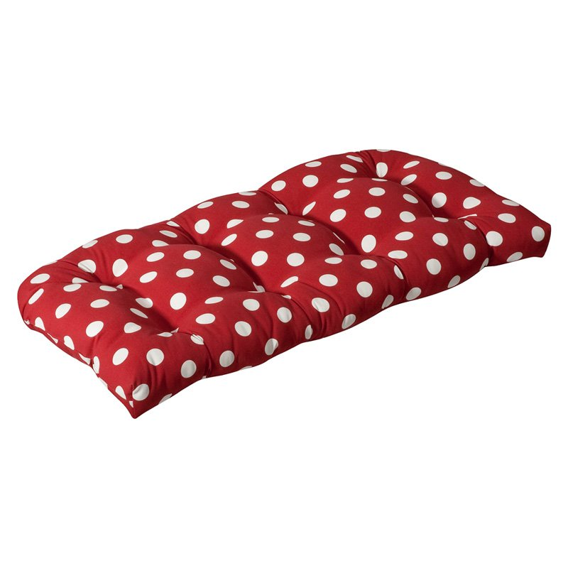 Pillow Perfect Outdoor/ Indoor Polka Dot Red Wicker Loveseat Cushion