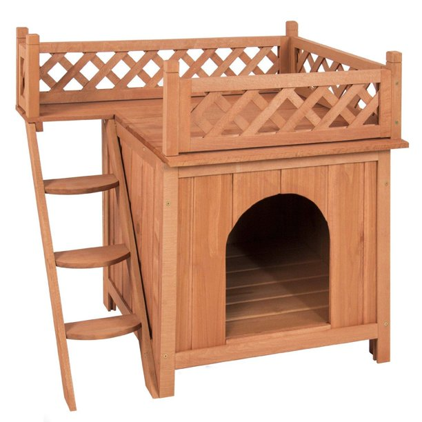Dog Puppy Pet House Wooden Room with Roof Balcony Bed ...