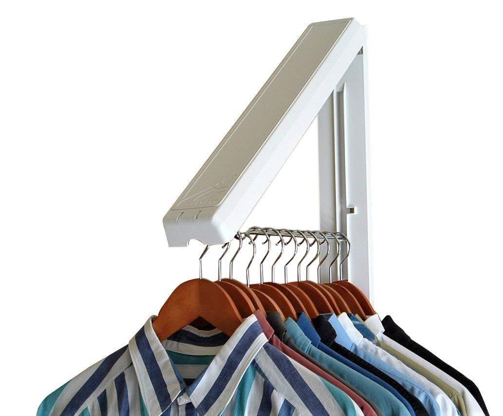 Instahanger Ah12 M White Folding Collapsible Wall Mounted Clothes Rack