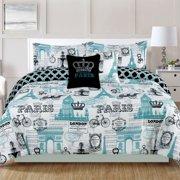Bedding Queen 5 Piece S Comforter Bed Set Paris Eiffel Tower London Teal Blue
