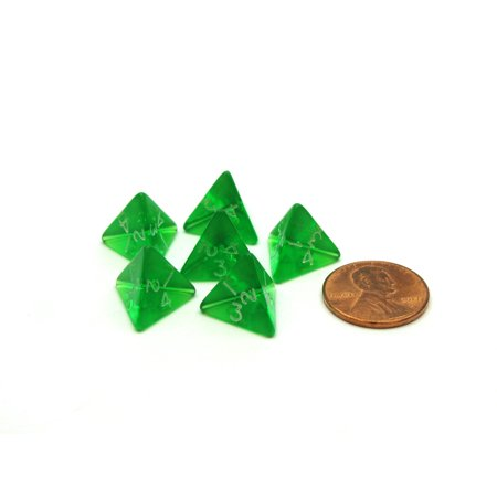 Translucent 12mm Mini 4 Sided D4 Chessex Dice, 6 Pieces - Green with White (Light Green Dice)