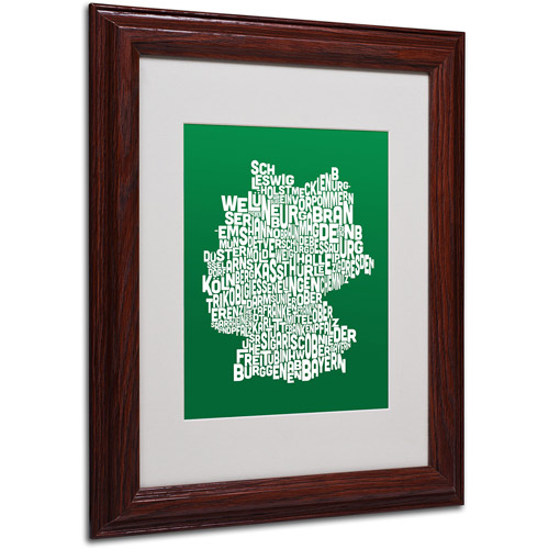 "Trademark Fine Art ""FOREST-Germany Regions Map"" Matted Framed by Michael Tompsett"
