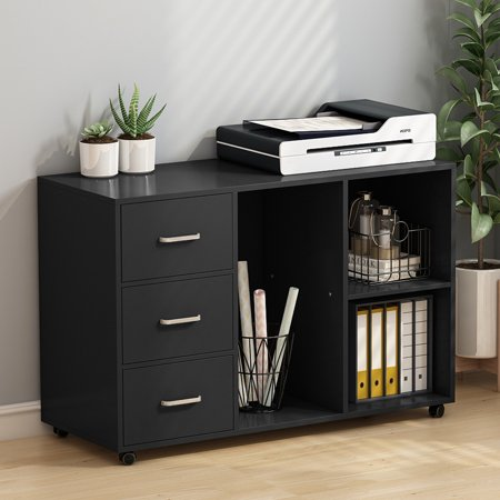 Tribesigns 3 Drawer Wood File Cabinets, Large Modern Lateral Mobile Filing Cabinets Printer Stand with Wheels, Open Storage Shelves for Home Office Study Bedroom (Black) ()