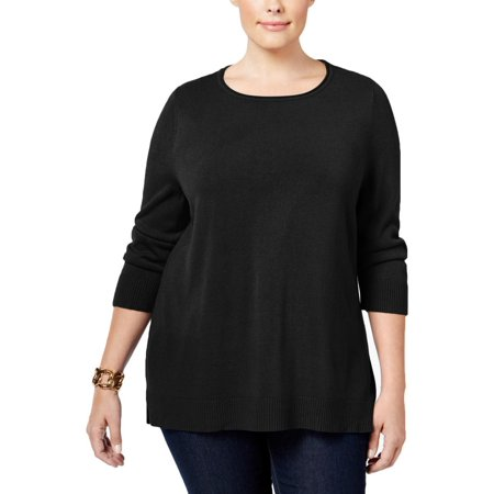 Karen Scott Womens Plus Raw Hem Boatneck Sweater