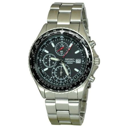 Seiko Men's SND253P1, Flight-master,Pilot Slide Rule,Chronograph,Stainless steel Case & Bracelet,SND253 Aviator Pilot Chronograph Watch