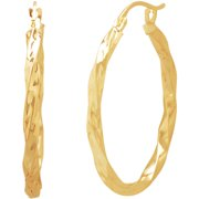 Simply Gold 10kt Gold Diamond-Cut Square Twist Earrings