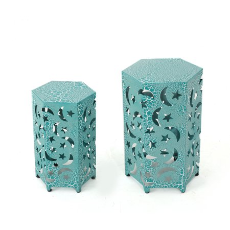 Carusa Indoor 12 and 14 Inch Iron Moon and Stars Side Tables, Crackle Teal