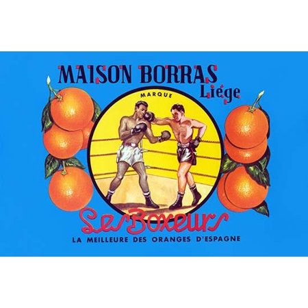 Spanish fruit crate label for oranges and featuring a pair of boxers fighting Poster Print by unknown