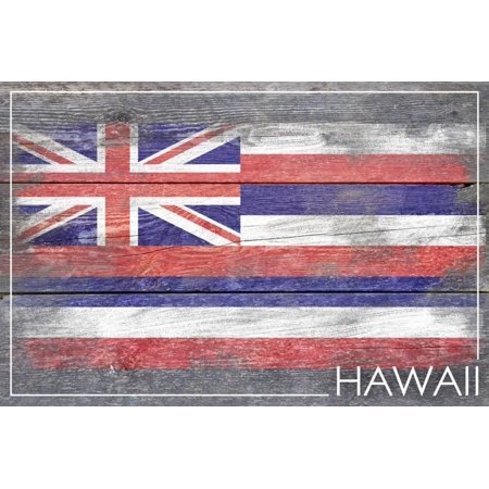 Hawaii State Flag - Barnwood Painting Print Wall Art By Lantern Press - Hawaii Art Paintings