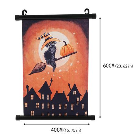 Halloween Season Of The Witch Poster (KABOER Halloween Witch Pumpkin Lantern Print Scroll Poster Wall Art Paintings Hanging Decor for Living Room)