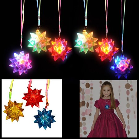 Dazzling Toys LED Blinking Crystal Star Necklace Glow Toy Flash Lights Set of 12
