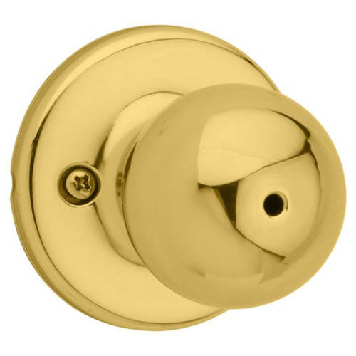 Kwikset 300P 3 Polo Bed/Bath Knob, Polished Brass