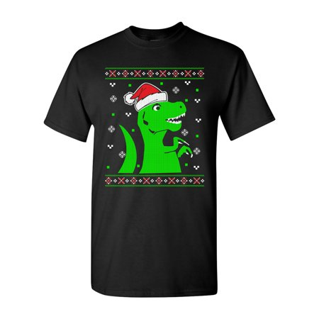 T-Rex Jurassic Christmas Dinosaur Ugly Xmas Funny DT Adult T-Shirt Tee (Dinosaur Shirts For Adults)