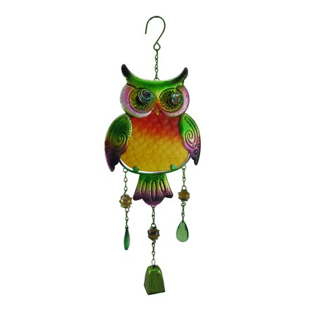 Hanging Green Tin Owl Sculpture w/Bell and Glass Insert Body