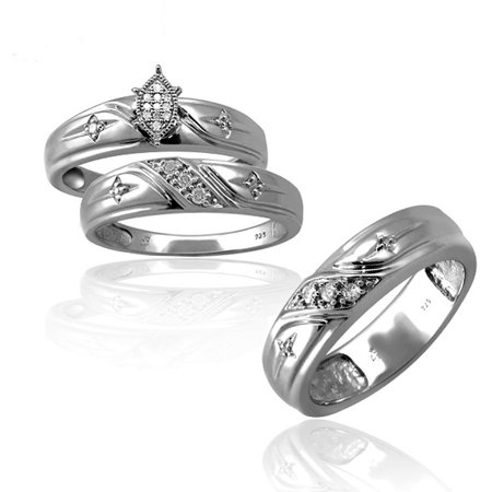 Jewelersclub 1 7 Carat T W White Diamond Sterling Silver Trio Engagement Ring Set