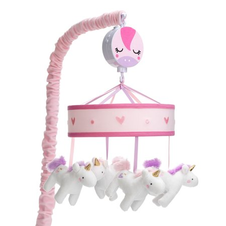 Lambs & Ivy Magic Unicorn White/Pink Musical Baby Crib Mobile Soother Toy
