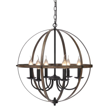 KingSo Metal Pendant Light Ceiling Chandelier Light Oil Rubbed Bronze Finish Imitation Wood Texture Vintage Hanging Light for Indoor Kitchen Island Dining Room