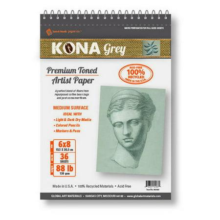 global art material 662417 kona classic premium grey spiral  pad 36 sheet 88lb (14x17 100 Sheets)
