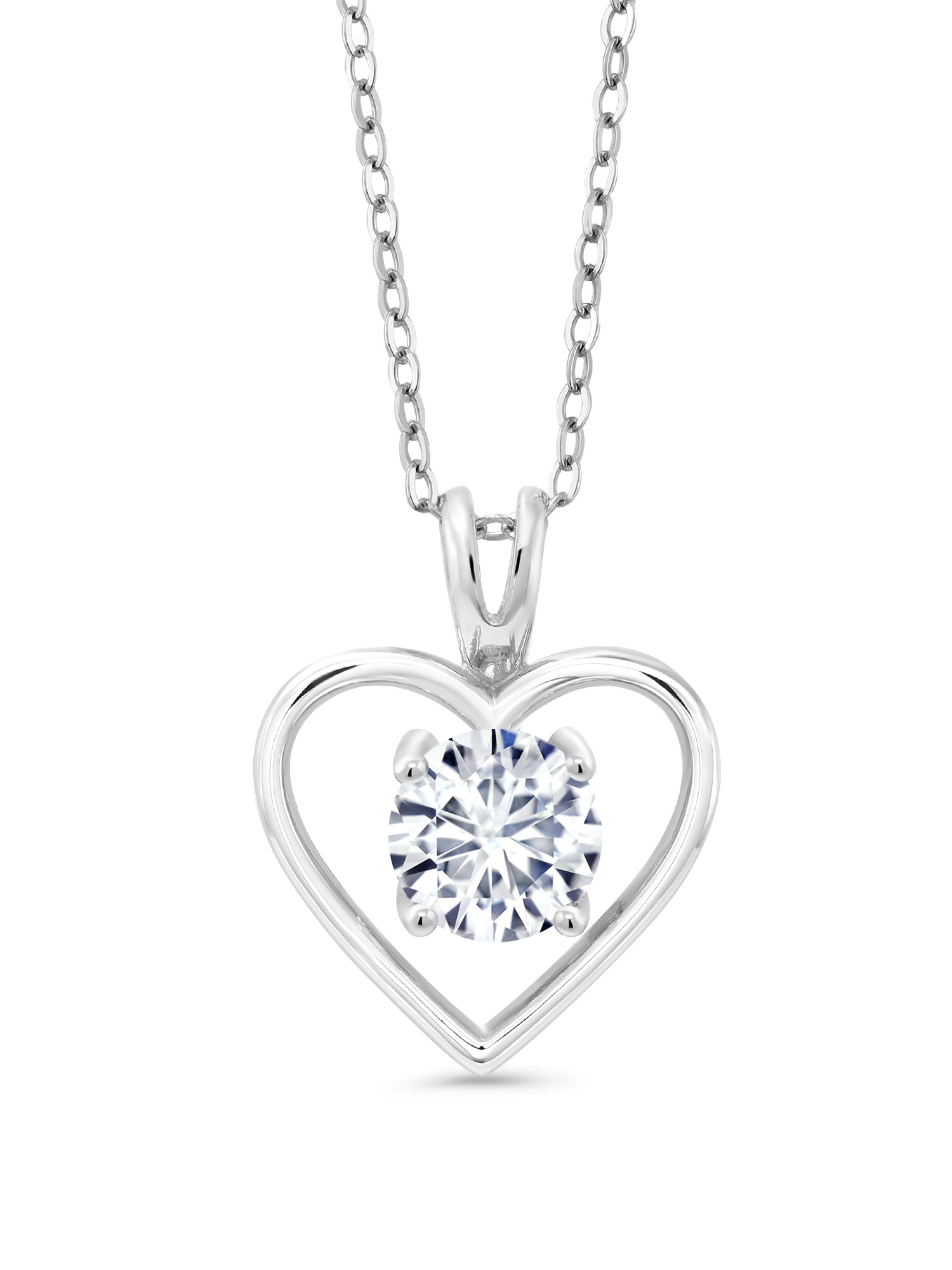 925 Silver Pendant Timeless Brilliant Round Created Moissanite 1.00ct DEW