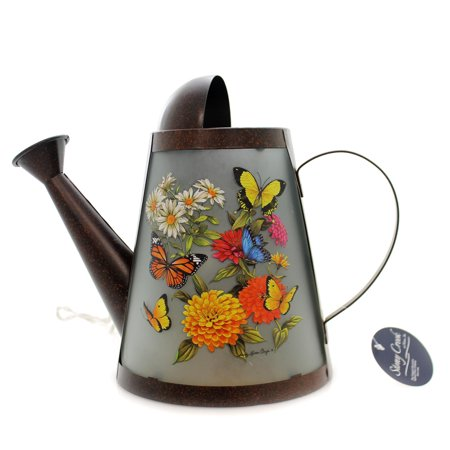 Stony Creek BUTTERFLY LIGHTED WATERING CAN Metal Flowers Summer (Crewel Flowers)