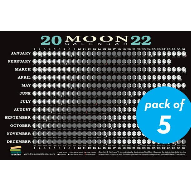 Moon Phases Calendar 2022.2022 Moon Calendar Card 5 Pack Lunar Phases Eclipses And More Cards Walmart Com Walmart Com