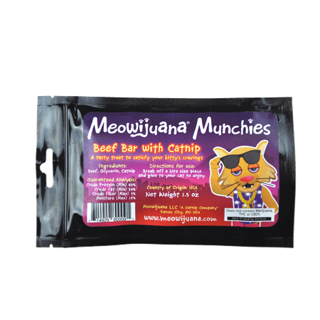 Meowijuana Munchies - Chewy Beef Bar and Catnip Cat Treat Dog Beef Cat Treats