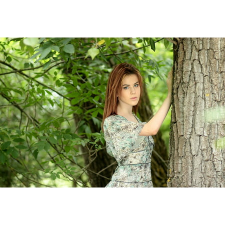 LAMINATED POSTER Dress Blue Eyes Girl Red Hair Tree Beauty Poster Print 11 x (Girl With Red Hair And Blue Eyes)