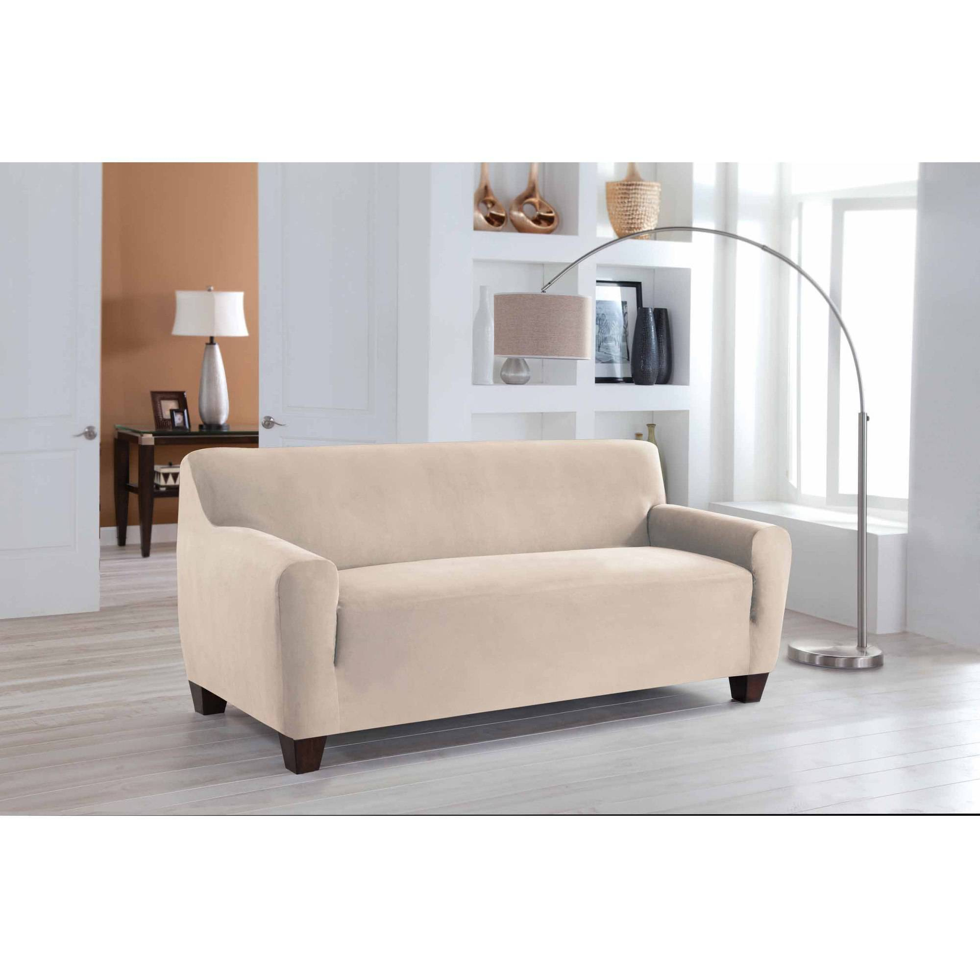 Serta Stretch Fit Microsuede Slipcover, Sofa 1-Piece Box Cushion ...