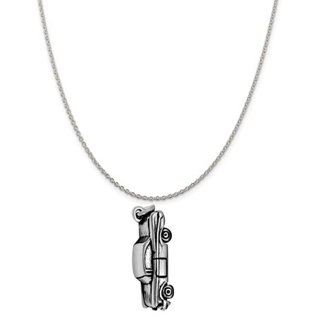 Sterling Silver 3D Hot Rod Car Charm on a Sterling Silver 18 Cable Chain Necklace