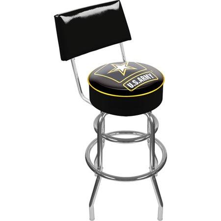 "Trademark U.S. Army 40"" Padded Swivel Bar Stool with Back, Chrome"