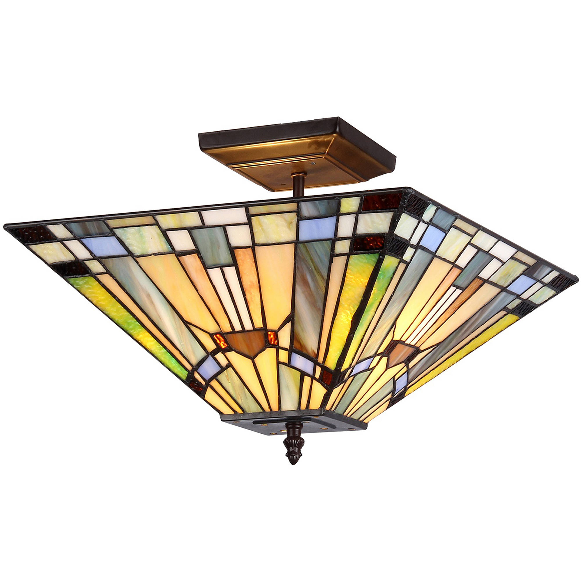"Chloe Lighting Kinsey Tiffany-Style 2-Light Mission Semi-Flush Ceiling Fixture with 14"" Shade by Chloe Lighting"