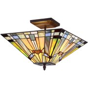 """Chloe Lighting Kinsey Tiffany-Style 2-Light Mission Semi-Flush Ceiling Fixture with 14"""" Shade"""