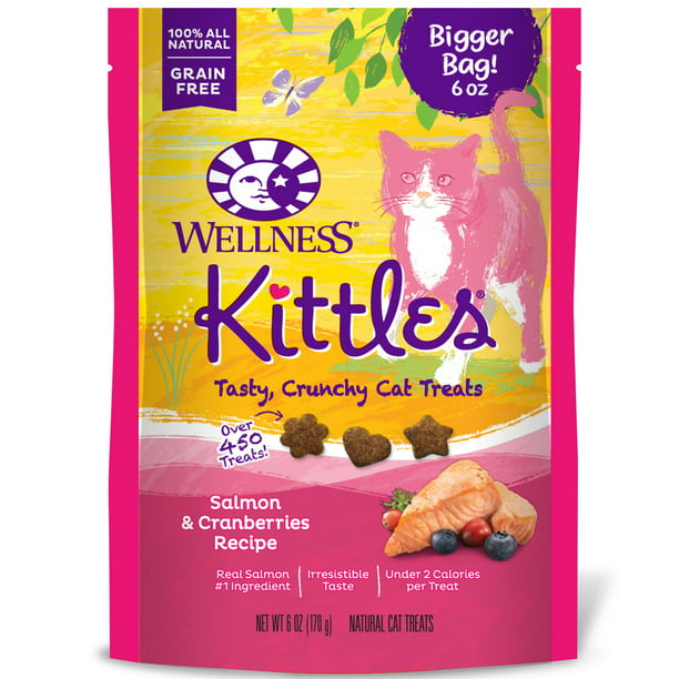 Wellness Kittles Natural Grain Free Cat Treats, Salmon & Cranberries, 6-Ounce Bag