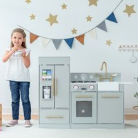 Teamson Kids Little Chef Chelsea Modern Play Kitchen - Silver Grey / Gold