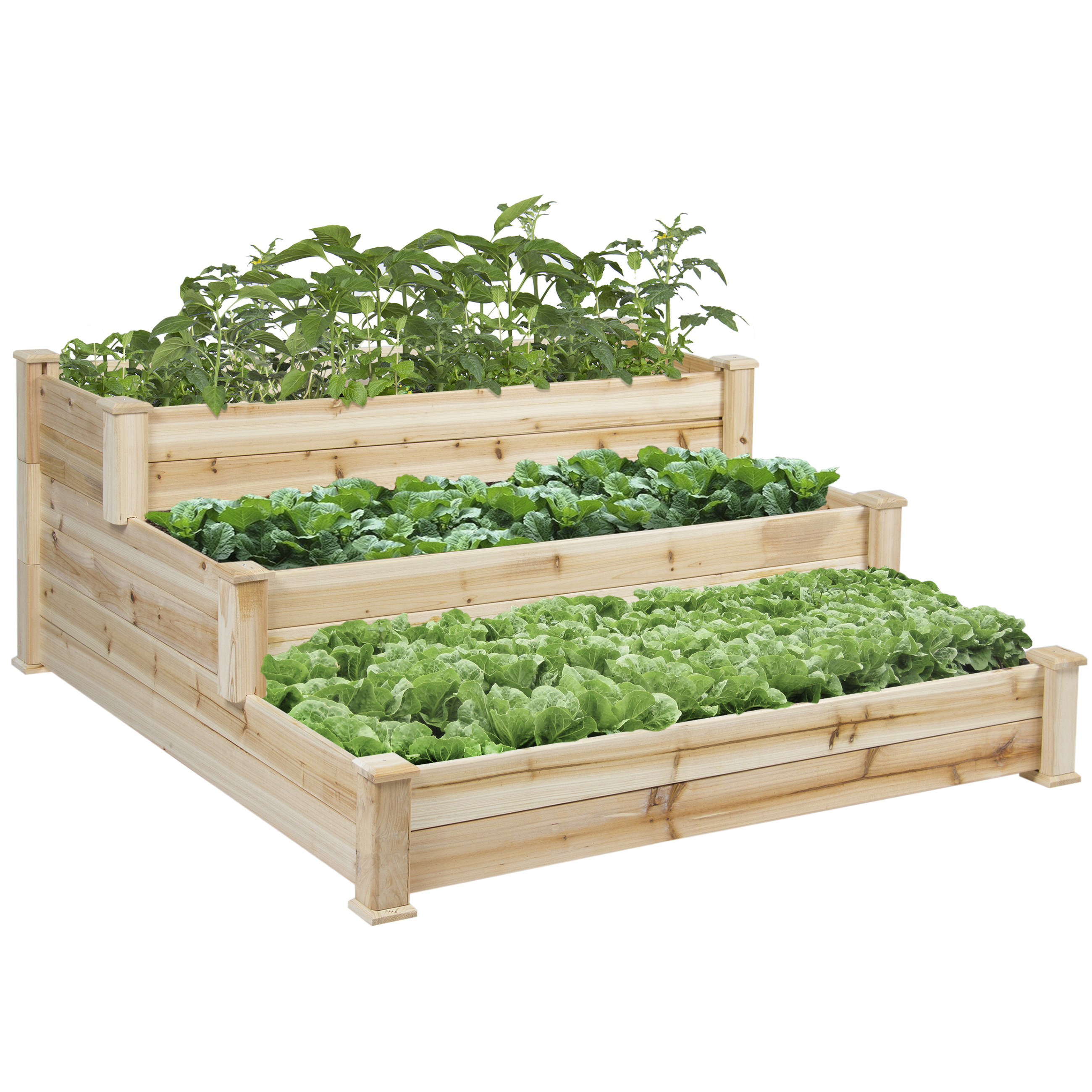 BCP Wooden Raised Vegetable Garden Bed 3 Tier Elevated Planter Kit Outdoor Gardening by Planters