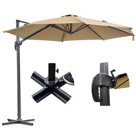 GHP 10-Feet Tan Aluminum Pole 200g/sqm Polyester Hanging Roma Offset Patio Umbrella