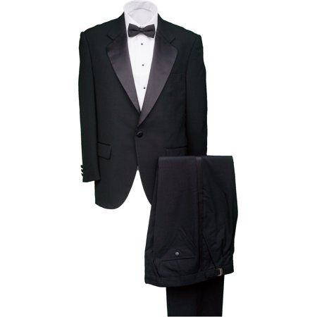 Mens 100% Wool Notch Collar Black Tuxedo Suit Black Notched One Button Tuxedo