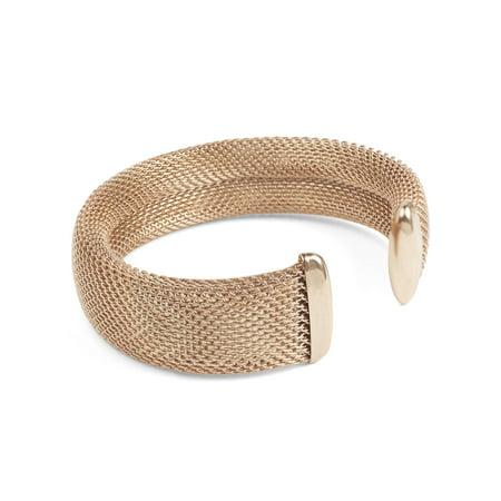 Women S Rose Gold Stainless Steel Mesh Cuff Bracelet